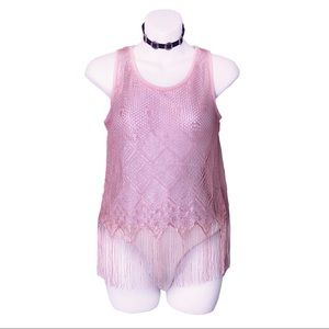 Tops - NWT Pink Sheer Mesh Festival Top With Fringe S